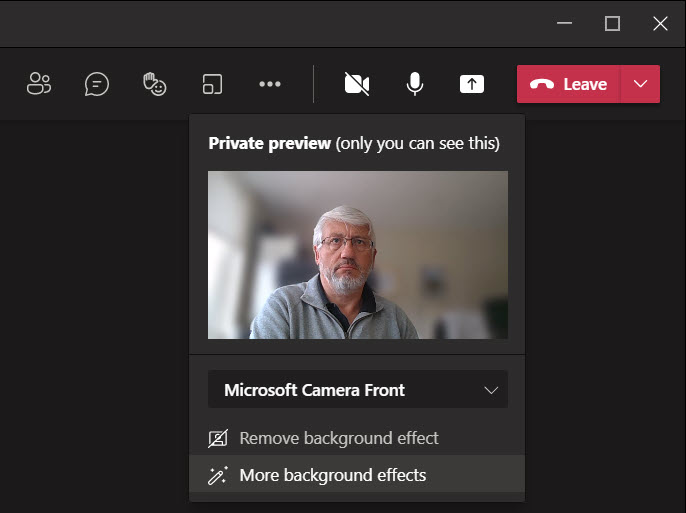 Using the private preview feature in the Teams desktop client to test a video feed