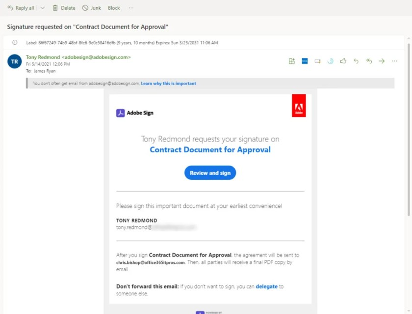 Email arrives from Adobe Sign seeking approval