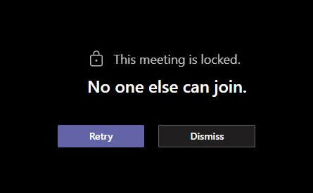 What people see if they attempt to join a locked meeting