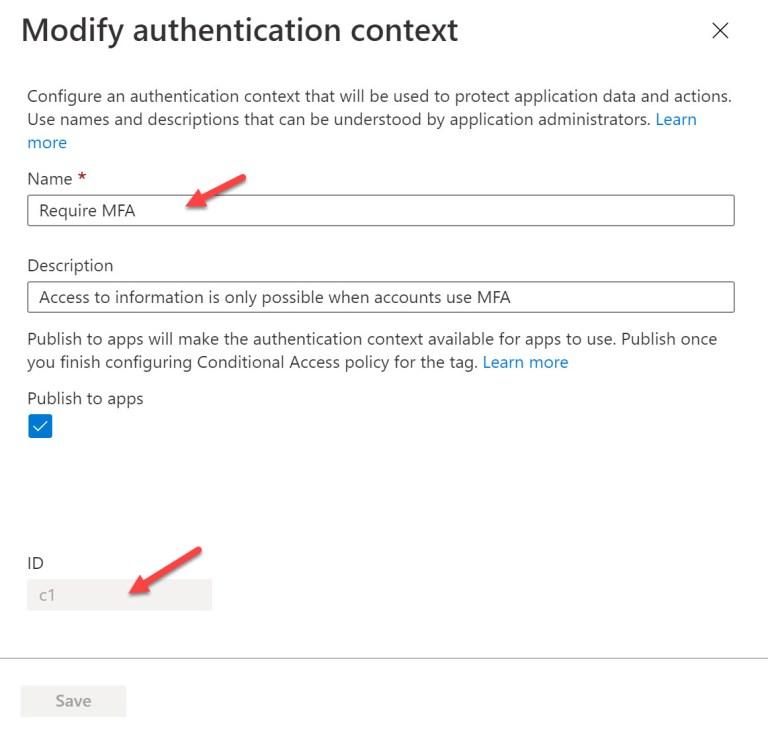 An Azure AD authentication context