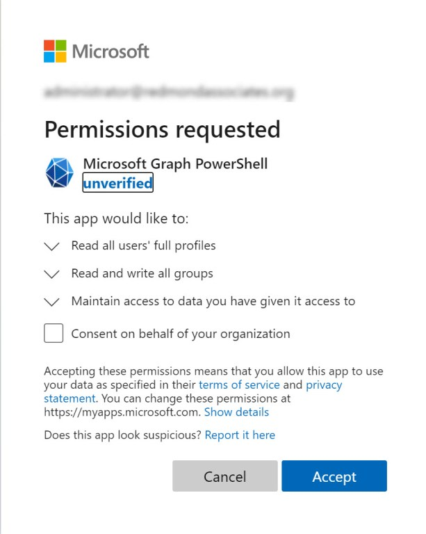 App consent required to use the Graph PowerShell SDK
