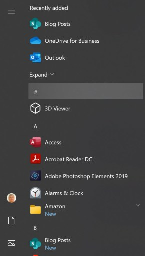 Web apps listed in the Windows start menu