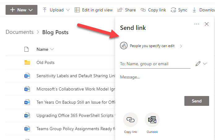 SharePoint Online generates a sharing link for a document