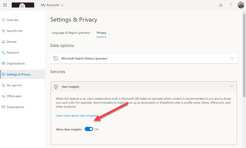 New Personal Item Insights Control in the Privacy section of the MyAccount page