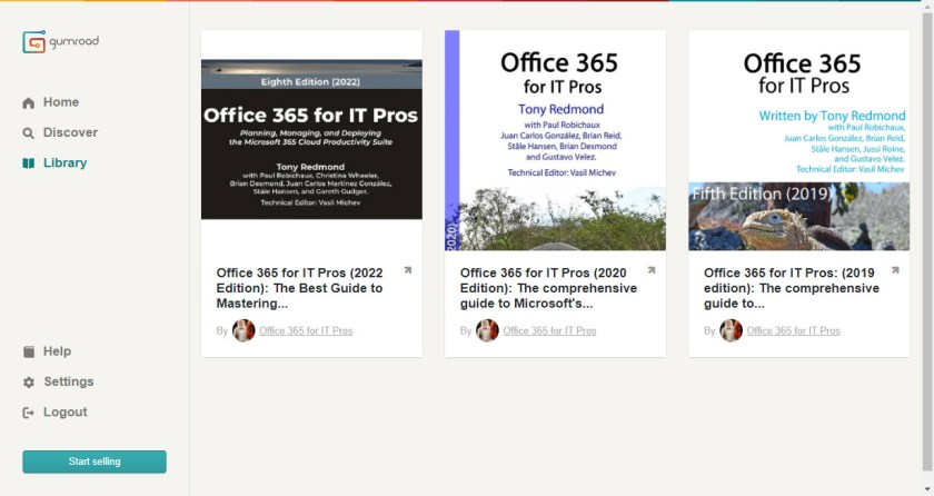 Gumroad account with Office 365 for IT Pros books