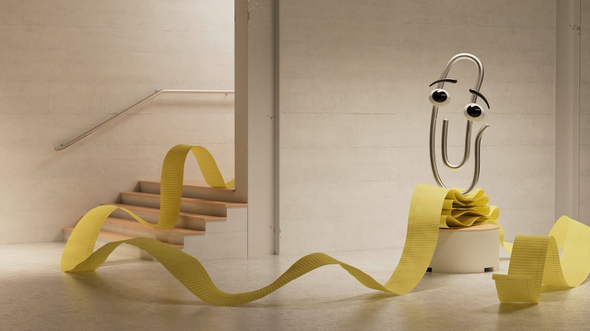 Clippy gets ready to be a background for a Teams meeting