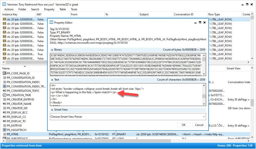 Compliance Record for a Yammer private message shown in MFCMAPI