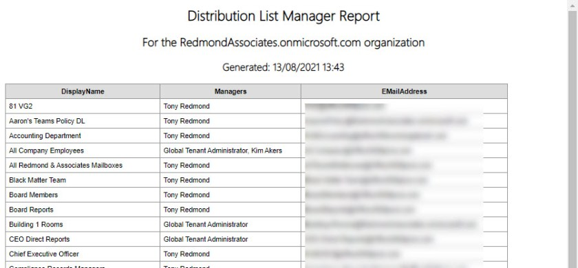 A HTML report of distribution lists and their managers