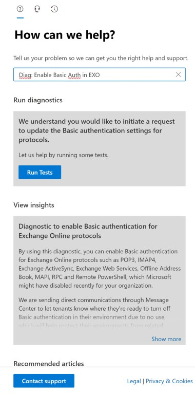 The option to reenable basic authentication for Exchange Online in the Microsoft 365 Admin Center