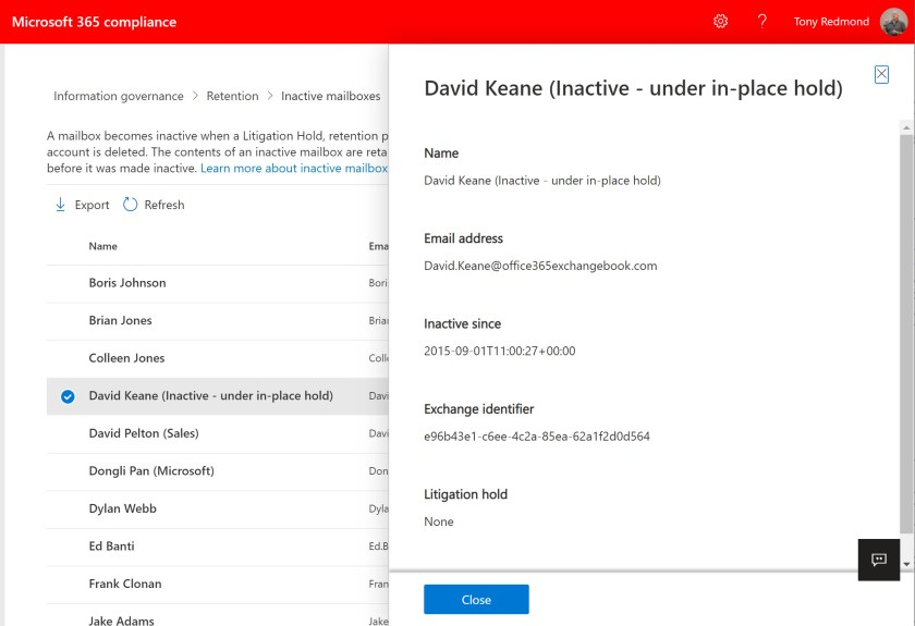 Inactive mailboxes listing in the Microsoft 365 admin center
