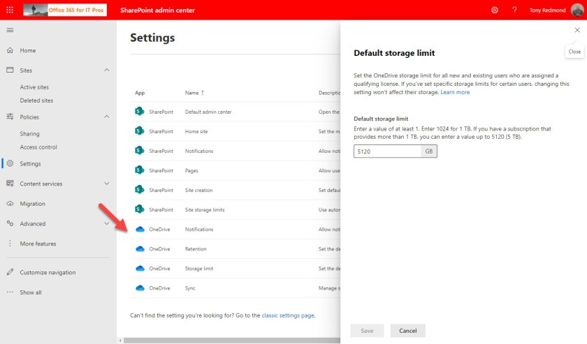 OneDrive for Business controls in the SharePoint Online admin center