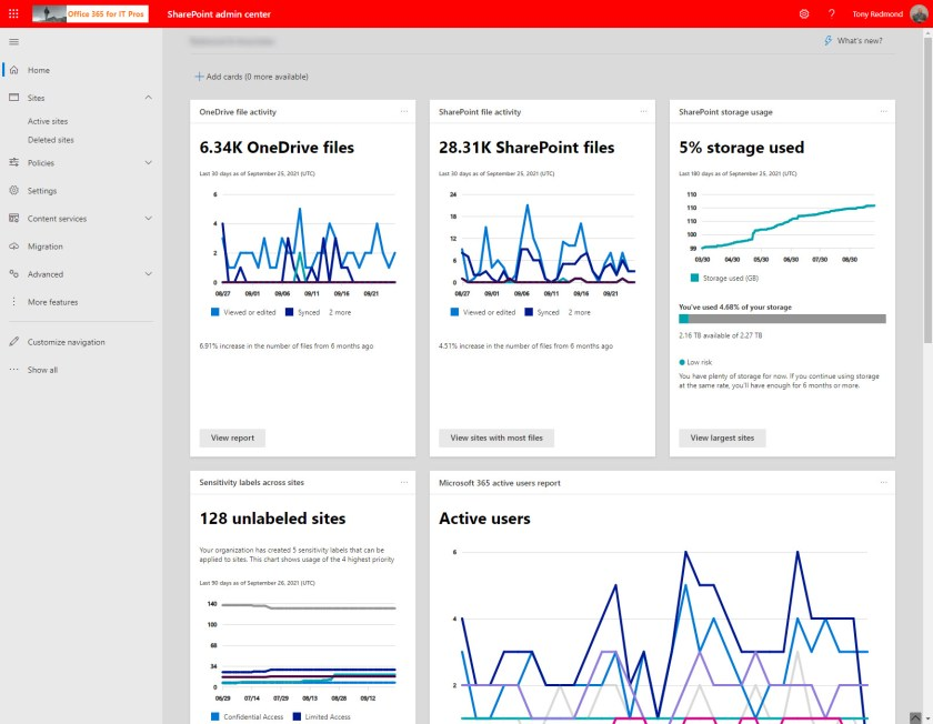 The SharePoint Online admin center and its dashboard composed of  insight cards