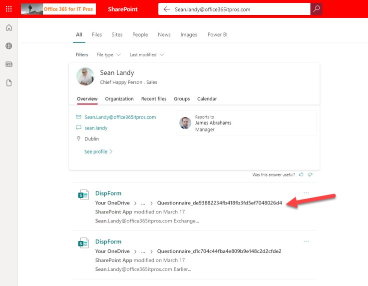 SharePoint Search finds details of webinar attendance for a user