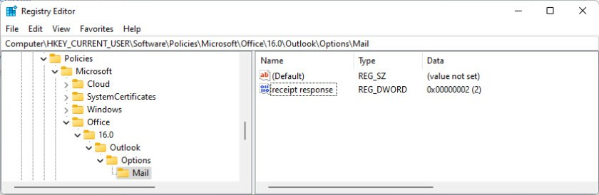 The system registry value to stop Outlook for Windows allowing users to choose a read receipt setting