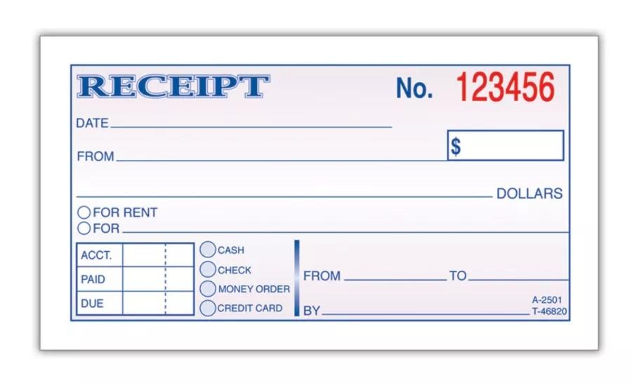 Adams Money Rent Receipt Book 5 3 8 X 2 3 4 2 Part Carbonless 50 Set Book Item 162370