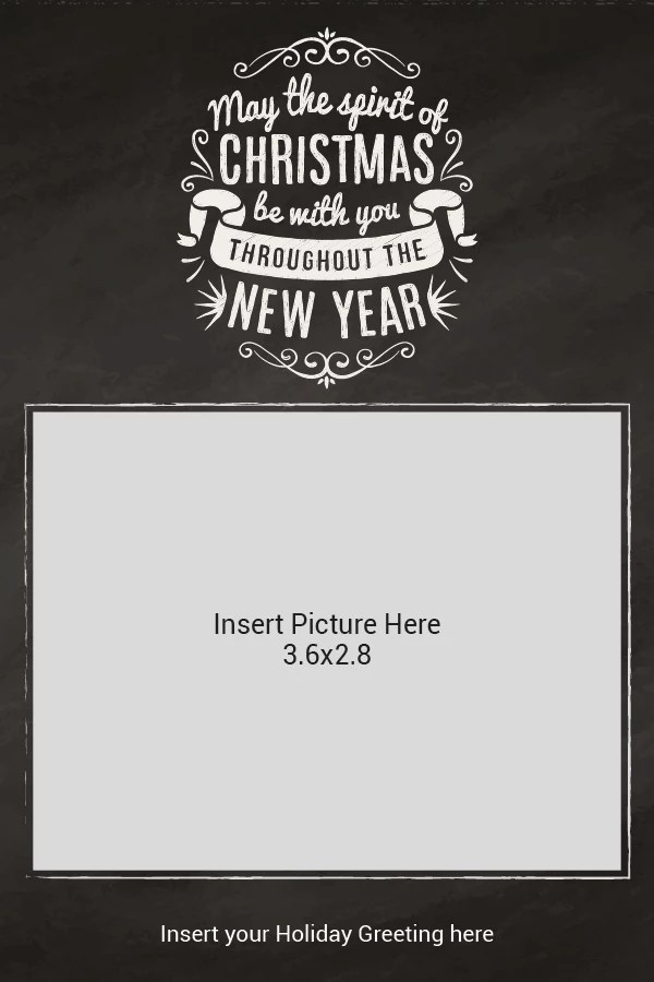 Flat Photo Greeting Card Merry Christmas Chalk Vertical By