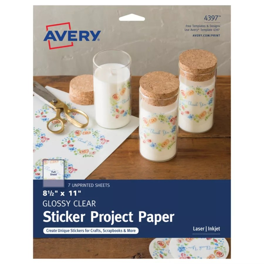 Avery Full Sticker Project Paper 4397 8 1 2 X 11 Glossy Clear 7 Sheets Item 393926