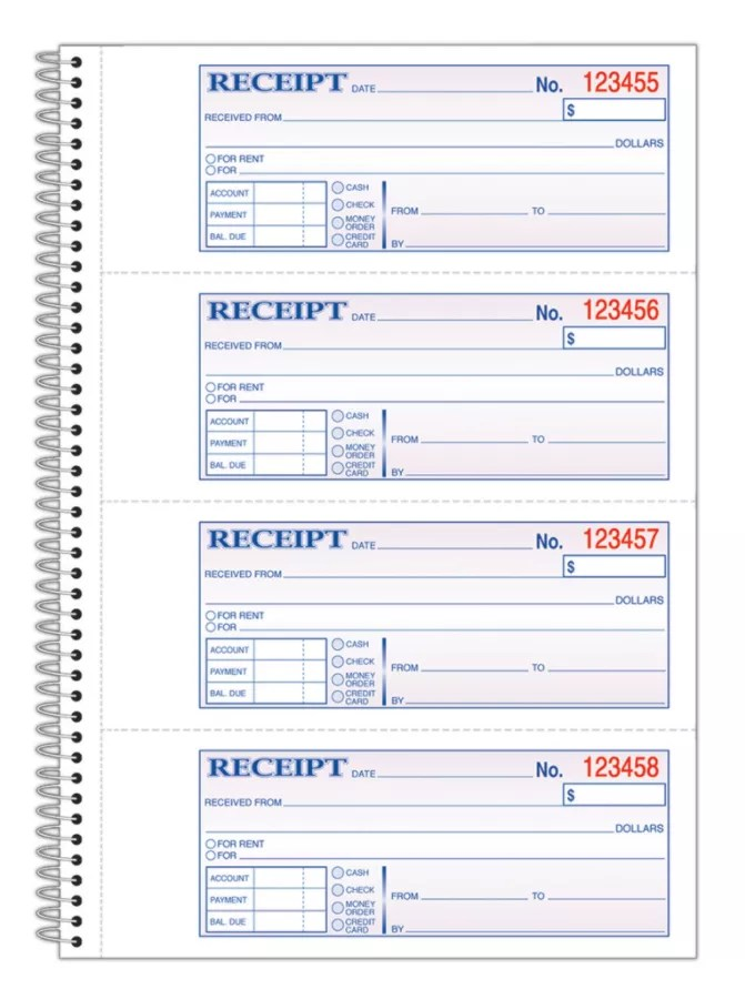 Adams Carbonless 2 Part Spiral Money Rent Receipt Book 7 5 8 X 11 Book Of 200 Sets Item 436857
