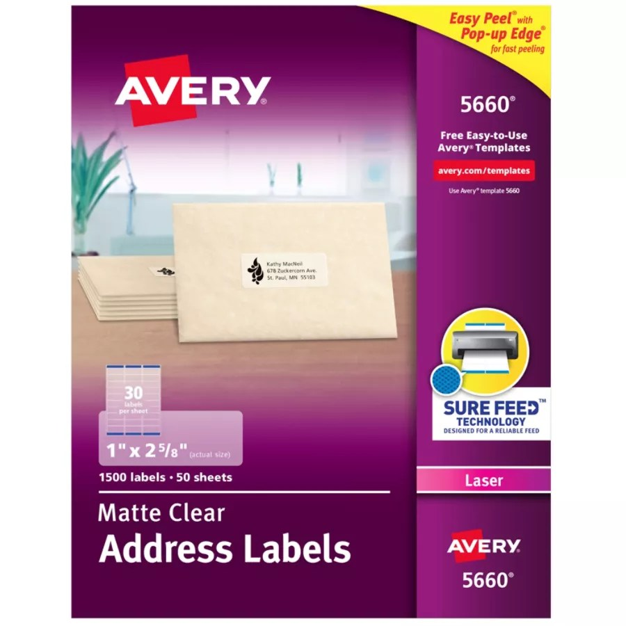 Avery Easy Peel Permanent Laser Address Labels 5660 1 X 2 5 8 Clear Pack Of 1 500 Item 449942