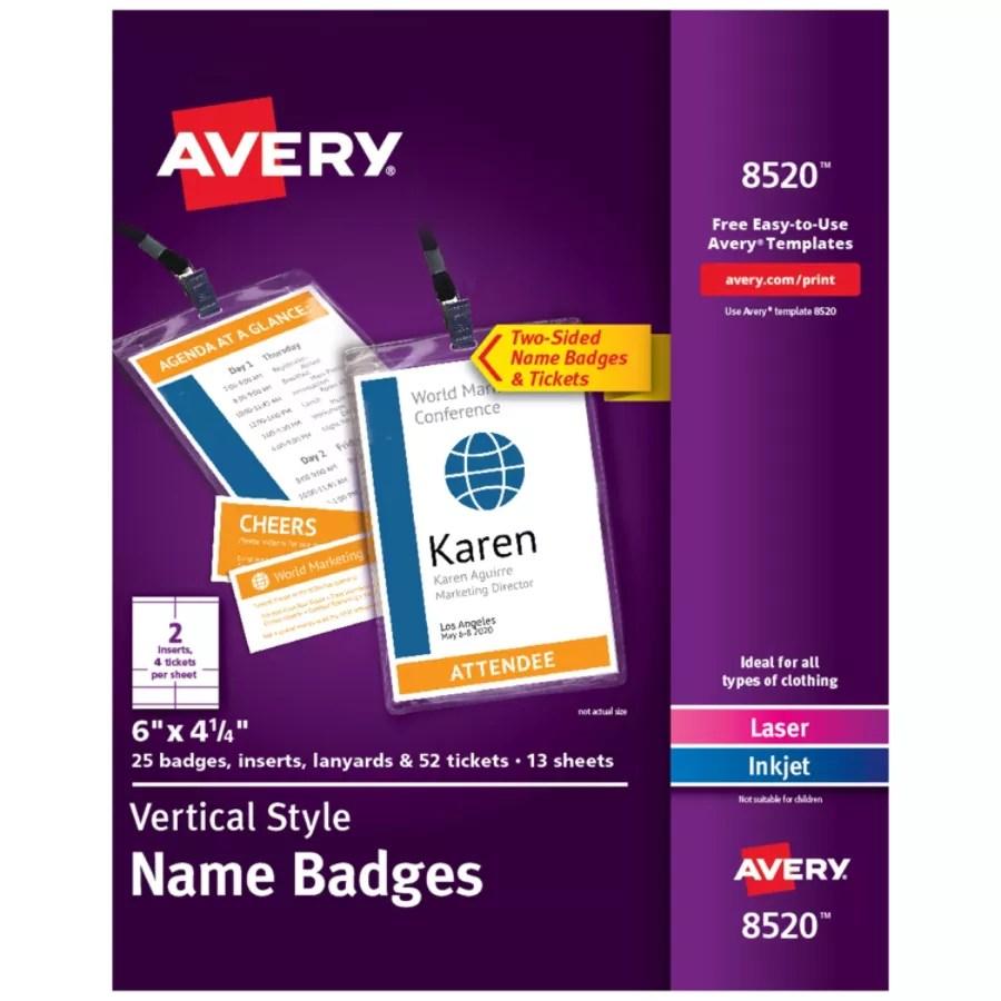 Avery Vertical Name Badge Kit 6 X 4 1 4 White Pack Of 25 Badges Item 6360122