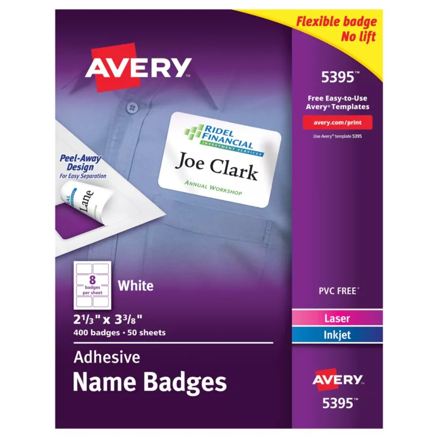 Avery Flexible Name Badge Labels 2 1 3 X 3 3 8 White Box Of 400 Item 945261