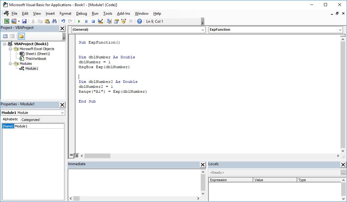 VBA Excel functions - Exp VBA function