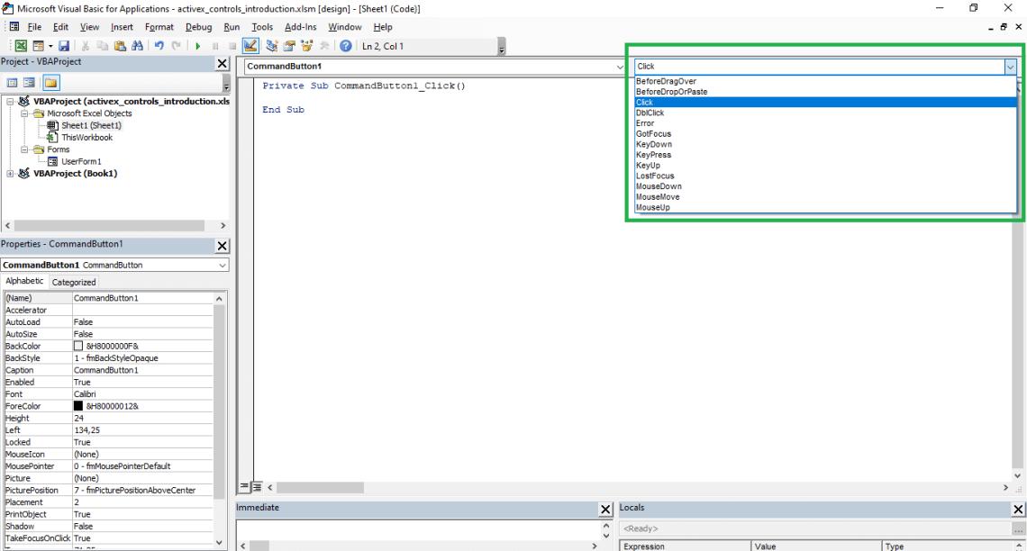 VBA Triggers ActiveX controls