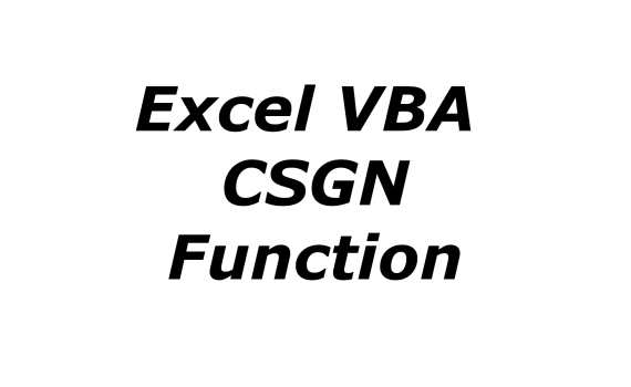 Excel VBA CSGN function