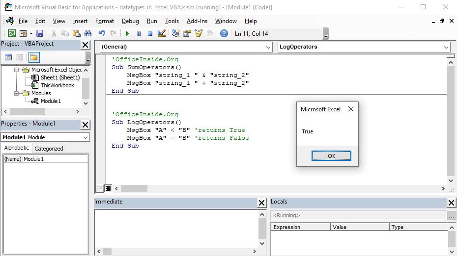 Types of operators in Excel VBA