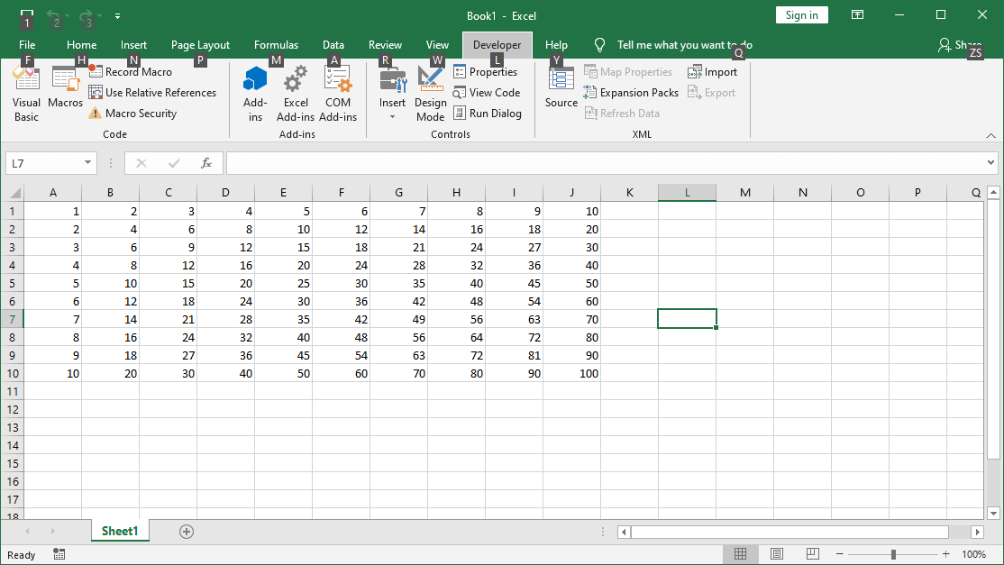 VBA Do While  multiplication table up to 100