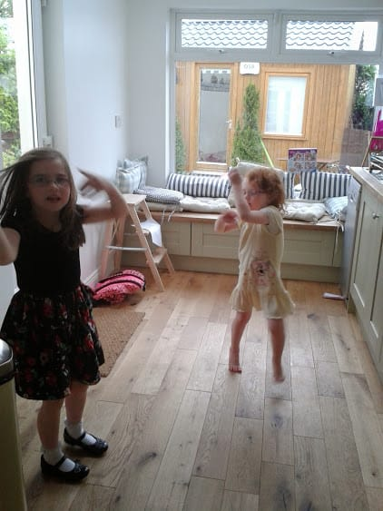 Office mum photo of kids dancing