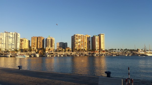 Malaga waterfront evening - office mum andrea mara