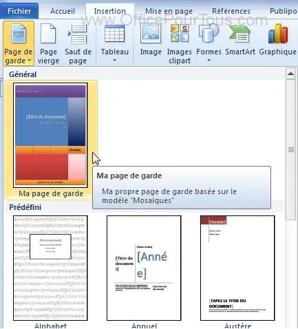 Insérer Une Page De Garde Dans Un Document Word