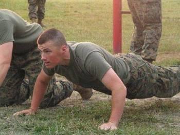 Candidates doing pushups
