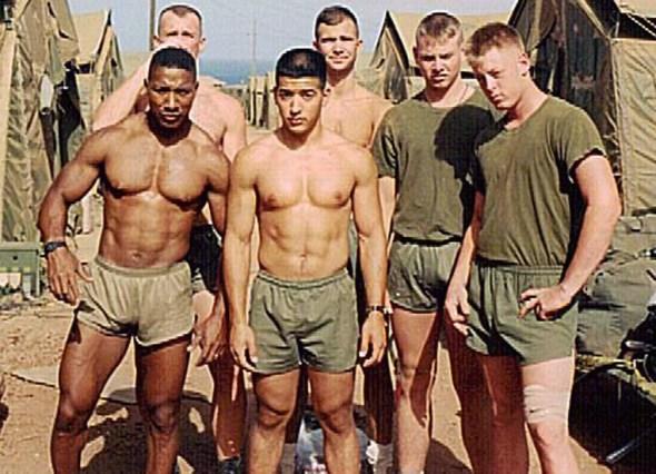 Marines wearing silkies running shorts