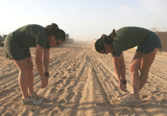 Just because Marines do it does not make it right. Warm up first, stretch after.