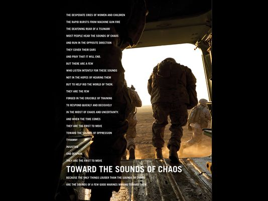 "'Toward the Sounds of Chaos' to showcase Marines' combat, humanitarian capabilities Marine Corps Recruiting Command is scheduled to release its latest advertising campaign, ""Toward the Sound of Chaos,"" during the Big 12 Championship game on ESPN, March 10. The campaign is designed to highlight Marines' roles as elite warriors and compassionate humanitarians. (Photo: Marine Corps)"