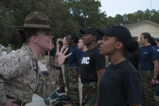A future Lieutenant enjoys learning important leadership lessons from a Drill Instructor at Mini OCS Prep Weekend aboard Parris Island
