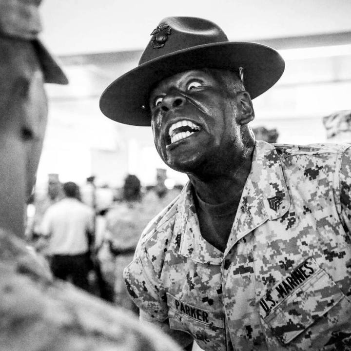 black-and-white-drill-instructor-yell