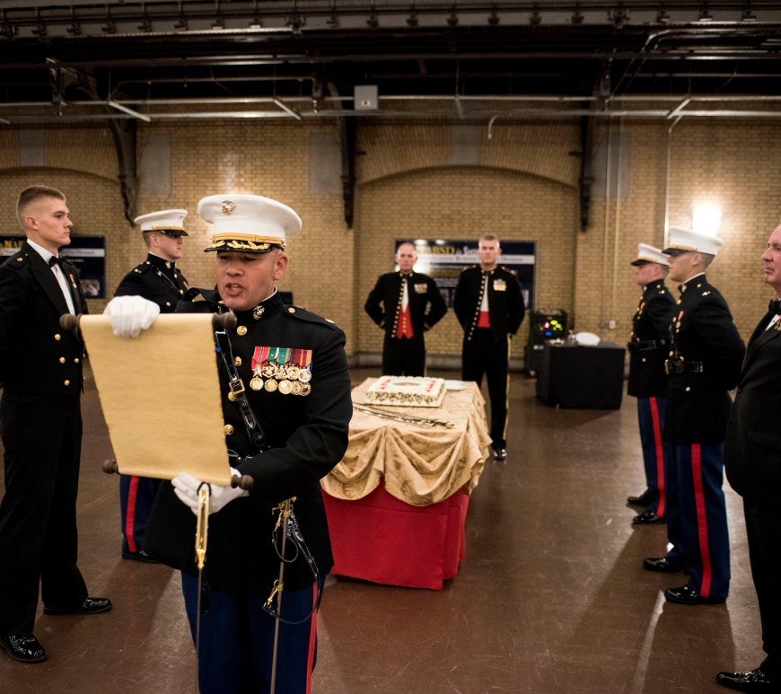 At the Marine Corps birthday ball, the reading of General Lejeune's message