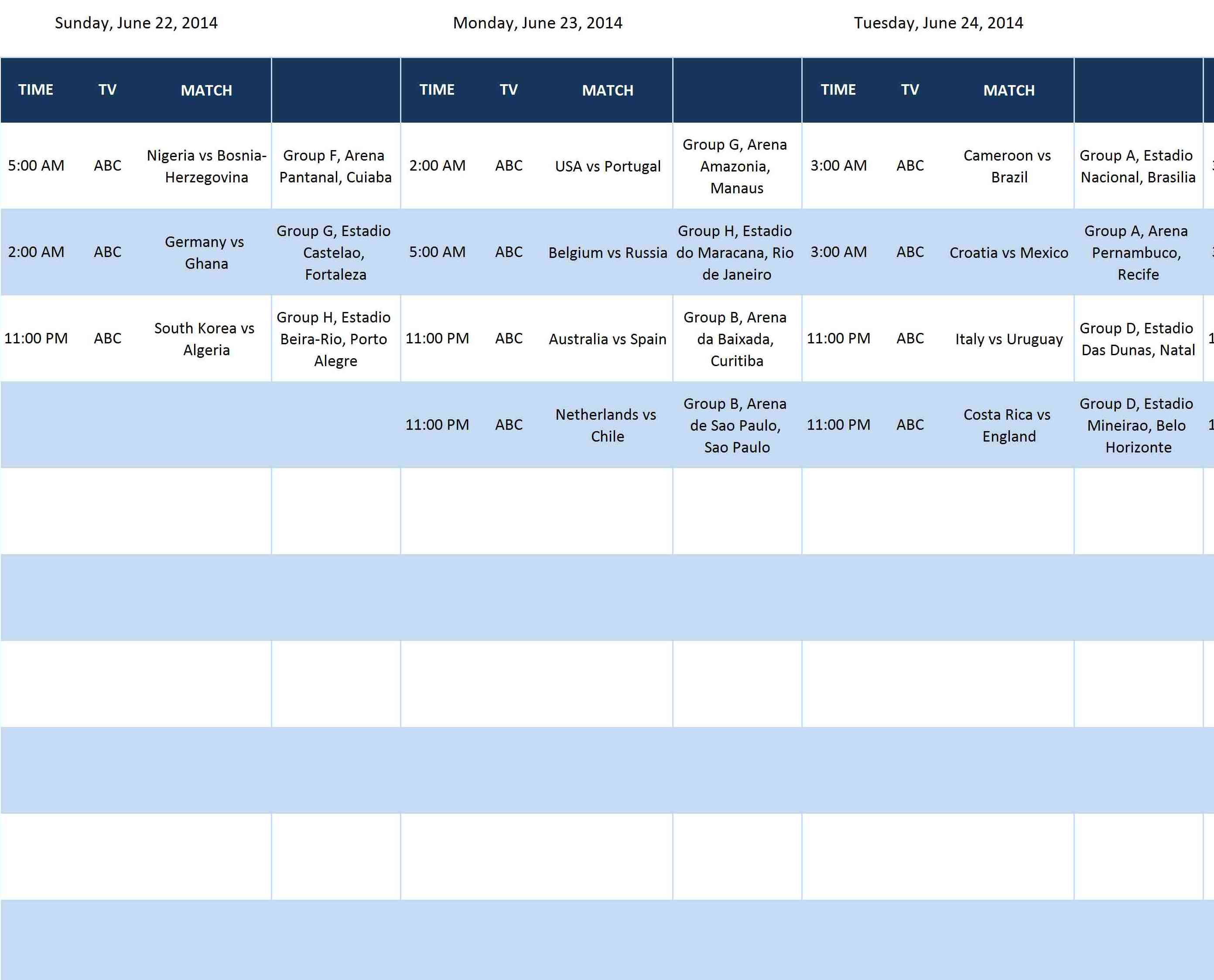Fifa World Cup Schedule Templates Microsoft And