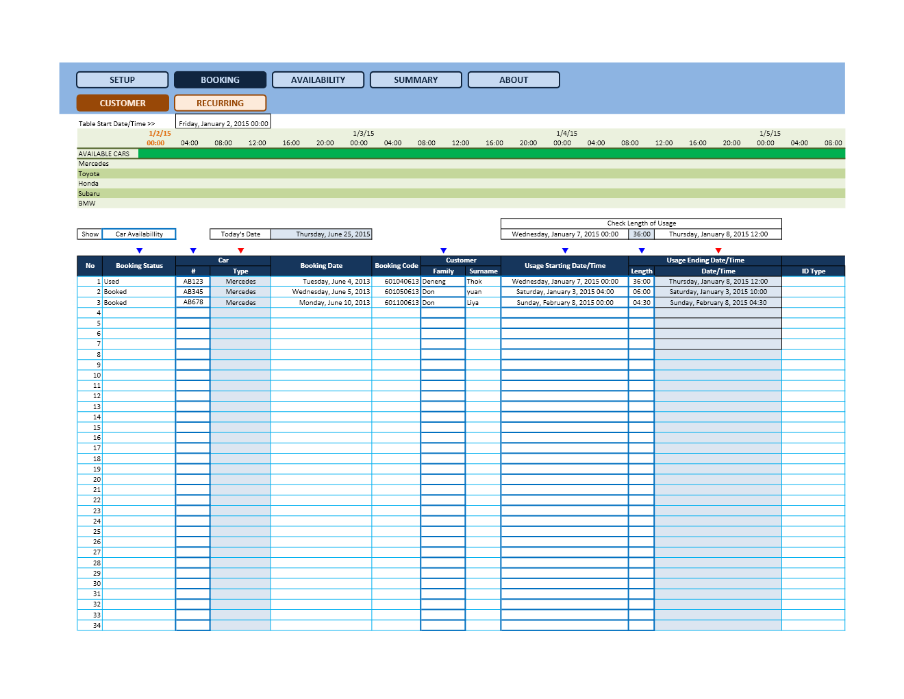Reservation Calendar Spreadsheets Microsoft And Open