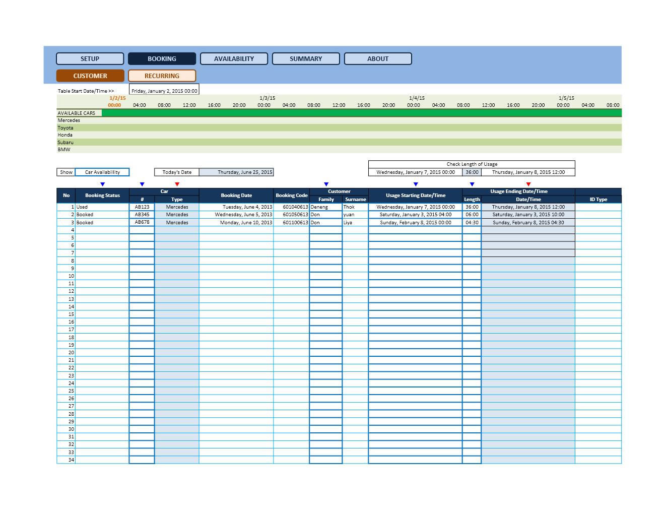 Reservation Calendar Spreadsheets