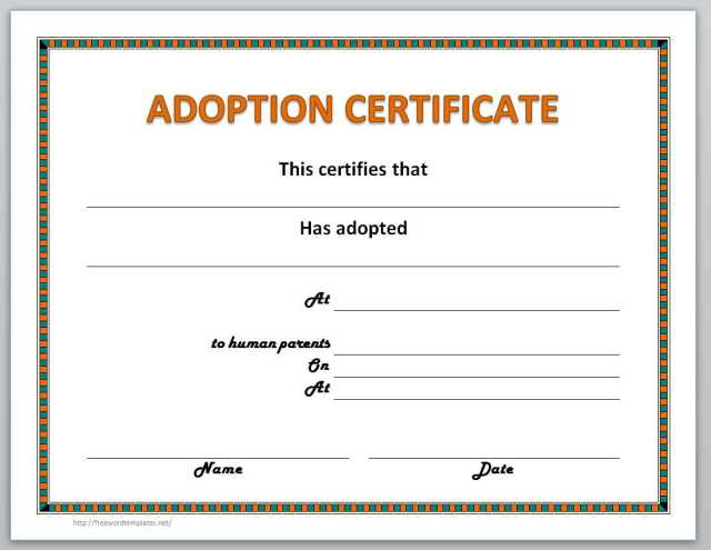 Adoption Certificate Template Free Download