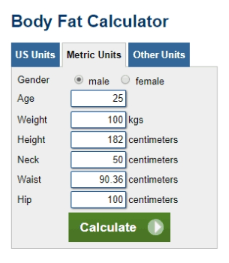 Army Body Fat Calculator Worksheet