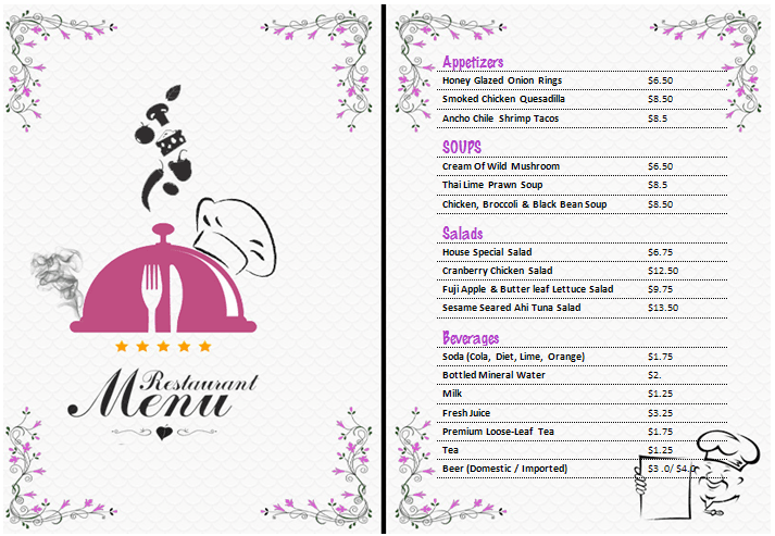 Word Menu Templates wedding menu template wedding menu template – Menu Templates Free Download Word