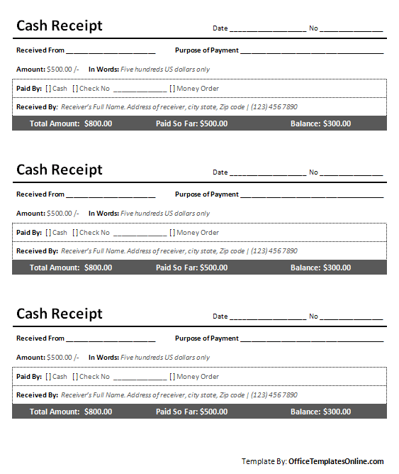Simple Cash Receipt Template printable cash receipt for ms word – Simple Receipt Template Word