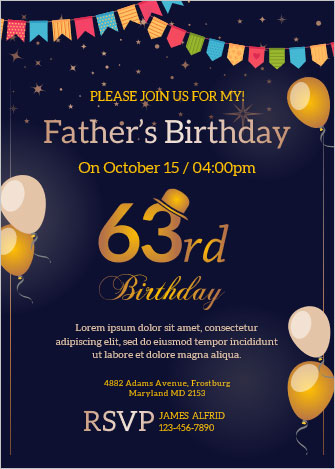 6 invitation cards for birthday in ms