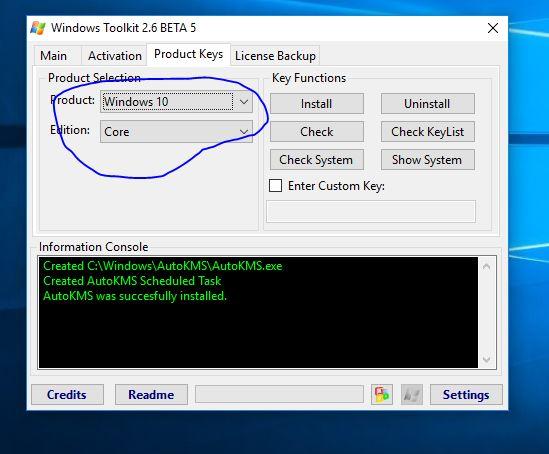 windows 10 select in Microsoft toolkit
