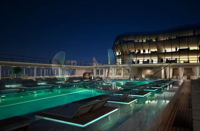 msc meraviglia pool at night